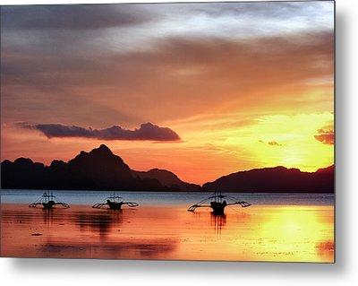 Metal Print featuring the photograph Three Fishermen by John Swartz