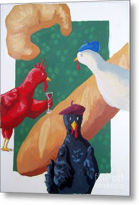 Three French Hens Metal Print by Whitney Morton