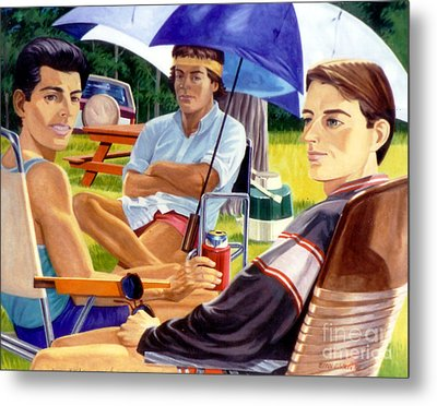 Three Friends Camping Metal Print by Stan Esson