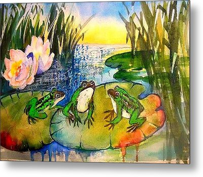 Three Frogs Metal Print