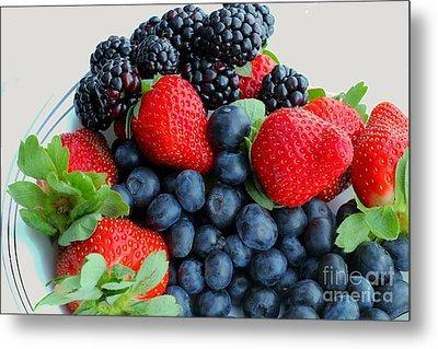 Three Fruit 2 - Strawberries - Blueberries - Blackberries Metal Print