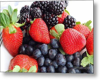 Three Fruit Closeup - Strawberries - Blueberries - Blackberries Metal Print