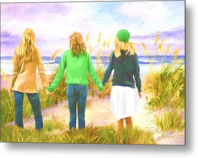 Three Girls At The Beach Metal Print