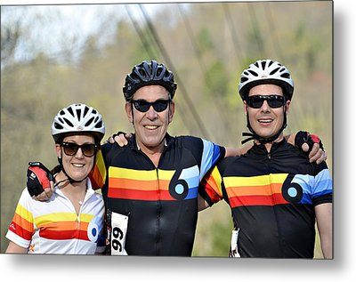 Three Gran Fondo Riders Metal Print by Susan Leggett