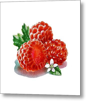 Metal Print featuring the painting Three Happy Raspberries by Irina Sztukowski