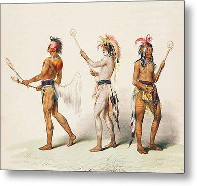 Three Indians Playing Lacrosse Metal Print
