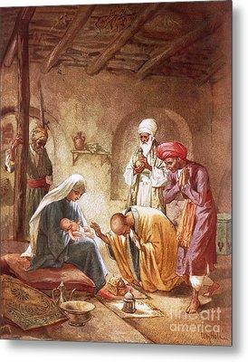 Three Kings Worship Christ Metal Print by William Brassey Hole