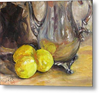 Metal Print featuring the painting Three Lemons by Gloria Turner