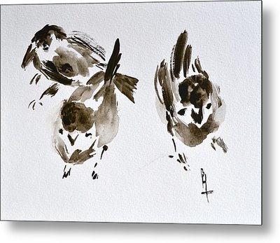 Three Little Birds Perch By My Doorstep Metal Print by Beverley Harper Tinsley
