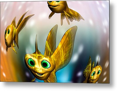 Three Little Fishies And A Mama Fishie Too Metal Print by Bob Orsillo