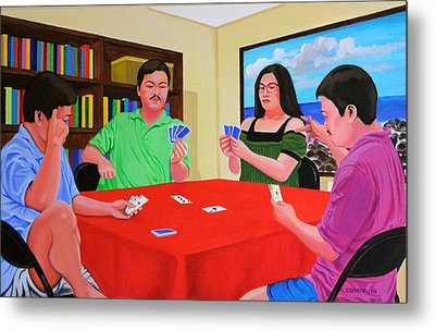 Three Men And A Lady Playing Cards Metal Print by Cyril Maza