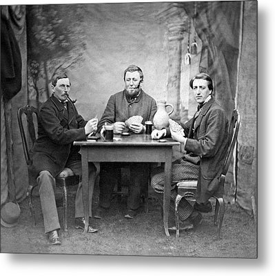 Three Men Playing Cards Metal Print by Underwood Archives