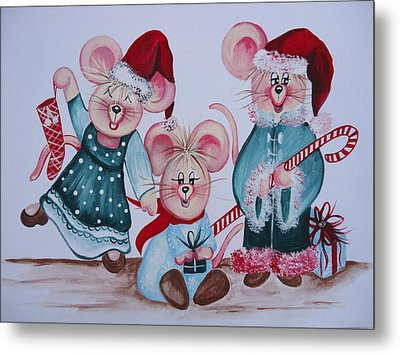 Three Merry Mice Metal Print by Leslie Manley