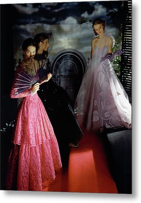 Three Models Wearing Ball Gowns Metal Print