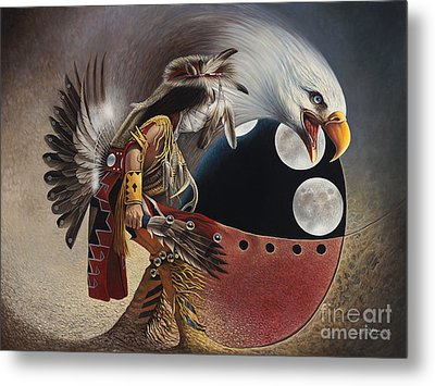 Three Moon Eagle Metal Print by Ricardo Chavez-Mendez