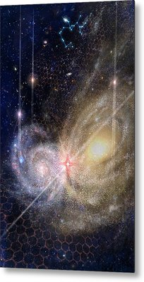 Three Of Wands/stars - Artwork For The Science Tarot Metal Print