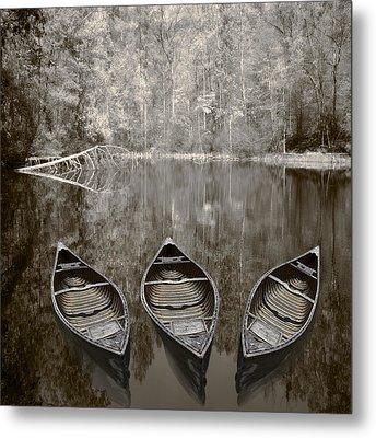 Three Old Canoes Metal Print by Debra and Dave Vanderlaan