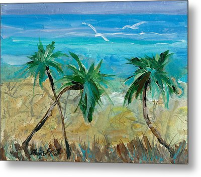 Three Palms Metal Print by Elaine Elliott