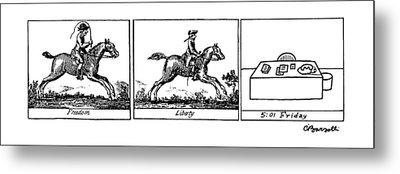 Three Panels Metal Print by Charles Barsotti