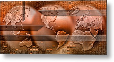 Three Parts Of The Earth Surrounded Metal Print