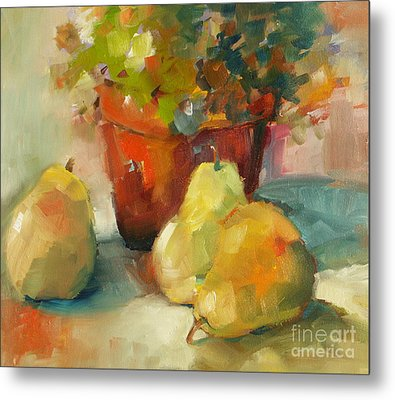 Three Pears And A Pot Metal Print