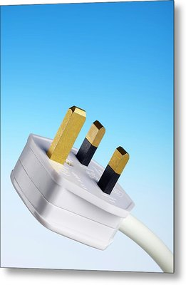 Three-pin Electrical Plug Metal Print by Science Photo Library