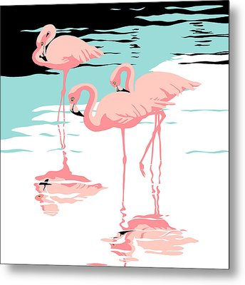 Three Pink Flamingos Tropical Landscape Abstract - Square Format Metal Print by Walt Curlee
