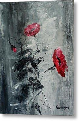 Three Poppies Metal Print by Maria Karalyos