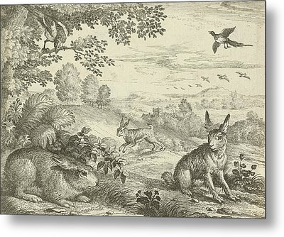Three Rabbits In A Landscape, Jan Griffier Metal Print