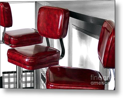 Three Red Stools Metal Print by Dan Holm