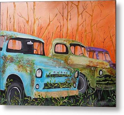 Three Rusty Trucks Metal Print