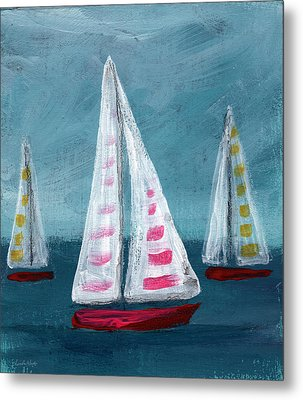 Three Sailboats Metal Print by Linda Woods