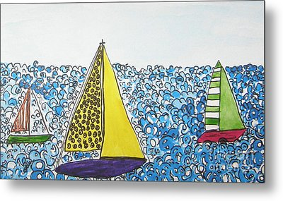 Three Sails Metal Print by Marcia Weller-Wenbert