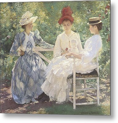 Three Sisters-a Study In June Sunlight Metal Print by Edmund Charles Tarbell