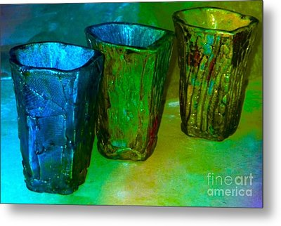 Three Smoke Fired Vases Metal Print by Joan-Violet Stretch