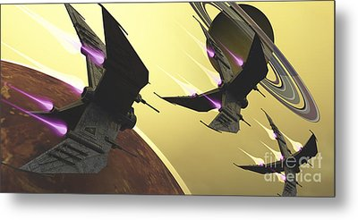 Three Spacecraft Pass By One Of Saturns Metal Print by Corey Ford