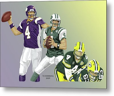 Metal Print featuring the digital art Three Stages Of Bret Favre by Thomas J Herring