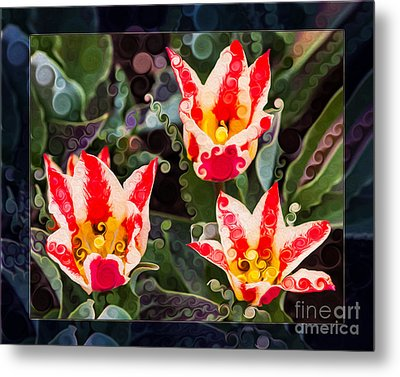 Three Striped Tulips In An Abstract Garden Painting Metal Print by Omaste Witkowski