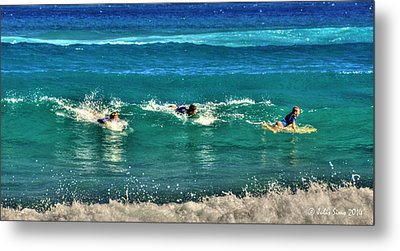 Metal Print featuring the pyrography Three Surfers And Blue Water by Julis Simo