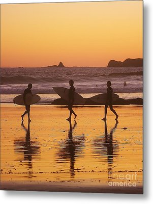 Three Surfers At Sunset Metal Print