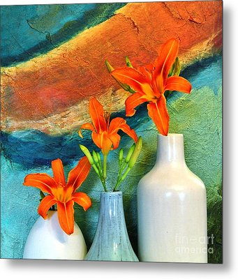 Three Tigerlilies In A Vase Metal Print by Marsha Heiken