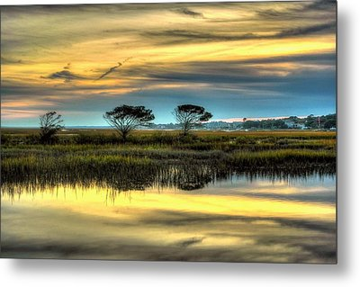 Three Tree Sunset Metal Print