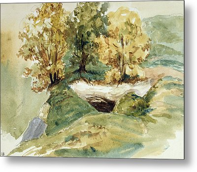Three Trees At The Edge Of A Hill Metal Print by Ferdinand Victor Eugene Delacroix