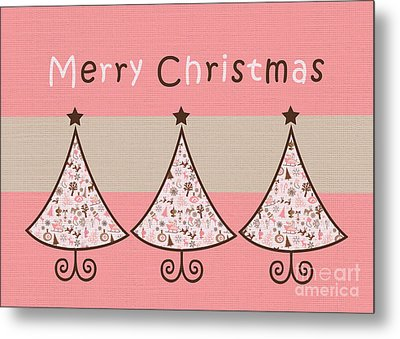 Three Trees Pink 02 - Merry Christmas Greeting Card Metal Print