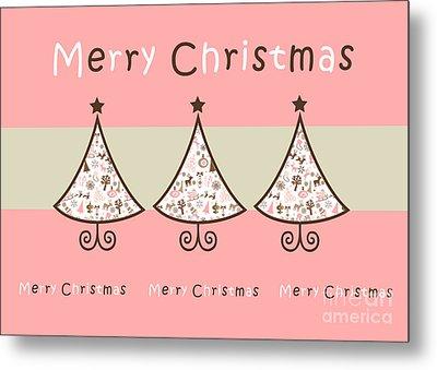 Three Trees Pink - Merry Christmas Greeting Card Metal Print