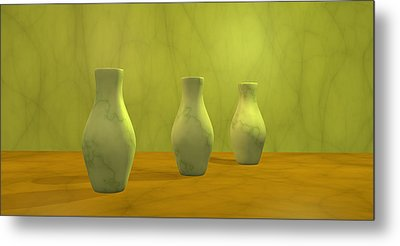 Metal Print featuring the digital art Three Vases II by Gabiw Art