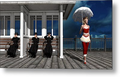 Three Victorian Ladies And The Scandal Metal Print