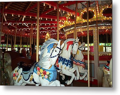 Metal Print featuring the photograph Three White Ponies by Barbara McDevitt