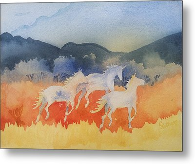 Three Wild Horses Metal Print