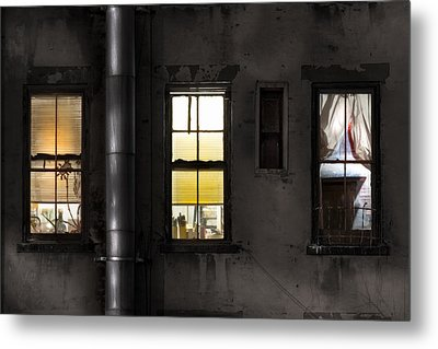 Three Windows And Pipe - The Story Behind The Windows Metal Print by Gary Heller
